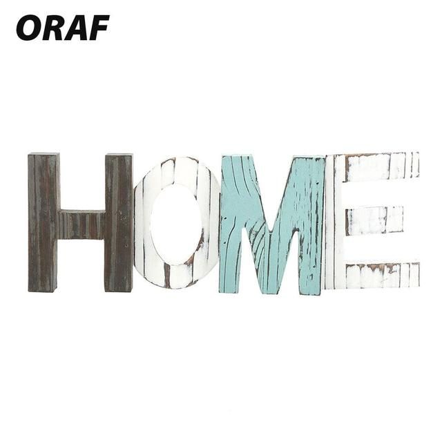 Wood HOME Sign Wood HOME Standing Figurines HOME Multicolor Cutout Word Decor Home Decorative Bedroom Wooden Letters