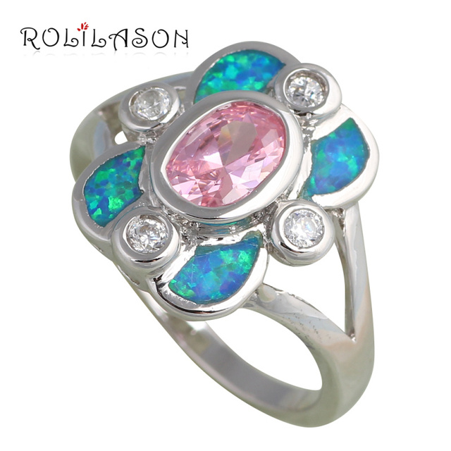 Blue Fire Opal Silver stamped Ring Fashion Jewelry USA Size #6.5 #8 8.5 Birthday Anniversary Opal Jewelry OR539