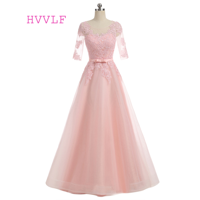 Pink Evening Dresses A-line Scoop Half Sleeves Tulle Lace Appliques Bow Elegant Long Evening Gown Prom Dresses Prom Gown