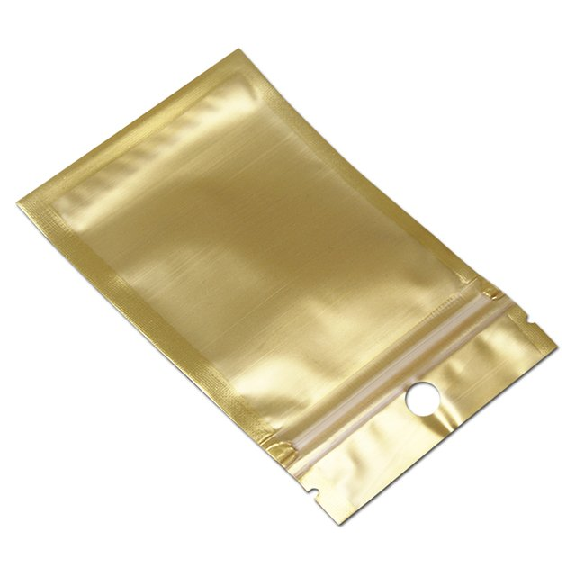7.5*12cm Gold / Clear Bag Plastic Self Seal Ziplock Zip Lock Bag Pouch Retail Zipper Storage Packaging Poly Bag With hang Hole