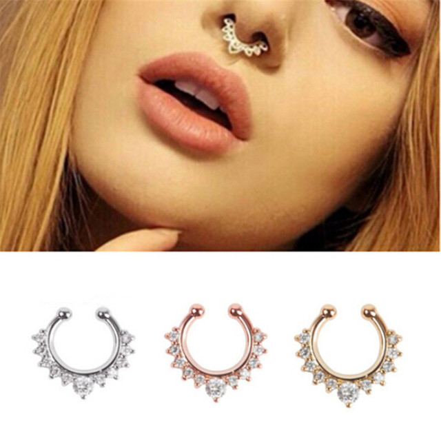 Creative Stainless Steel Nose Rings and Studs Fake Septum Piercing Crystal Nose Hoop Fake Nose Rings&Studs Women Body Jewelry