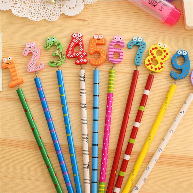 40PCS/lot  Kawaii Number design Wooden Pencils Office and Study Pencils nice gift prize Stationery Pencils Kids gifts Wholesale