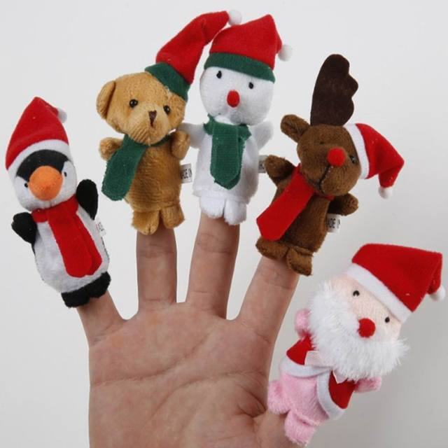 SAILEROAD 5pcs/lots 7CM Finger Puppets Story Time Christmas Santa Claus Finger Puppets Fun Novelty Funny Gadgets Toys Dolls