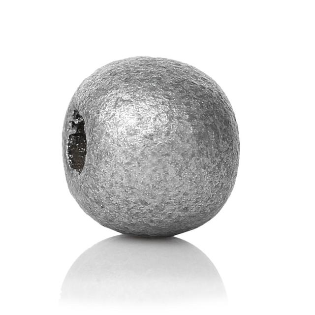 """DoreenBeads Wood Spacer Beads Round silver color About 10mm( 3/8"""") Dia, Hole: Approx 3.5mm, 60 PCs"""