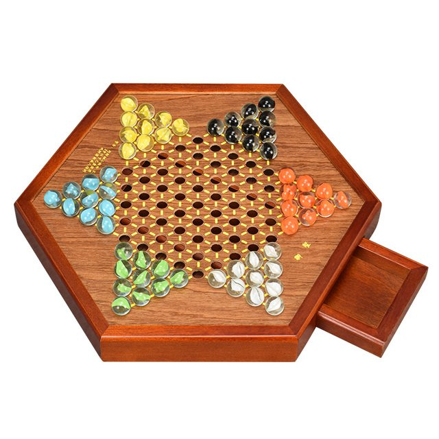 """Chinese Checkers , 12"""" Fine Wooden Chessboard , Classic Marbles Brand NEW"""