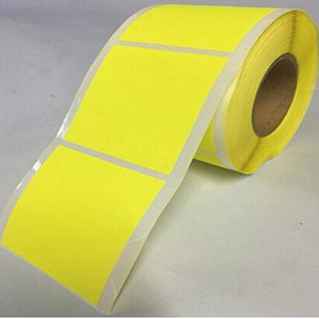 """2"""" Inch Square Fluorescent Yellow stationery sticker Color Coding Dot Labels 500 Colored Circle Stickers Per Roll"""