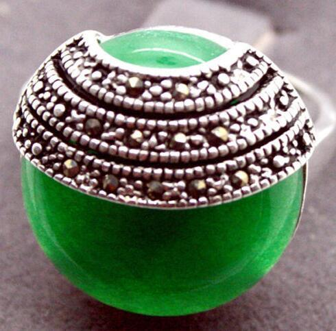 Free shipping Pretty Natural Coin Green 925 Sterling Silver Marcasite Ring Size 7/8/9/10 5.29