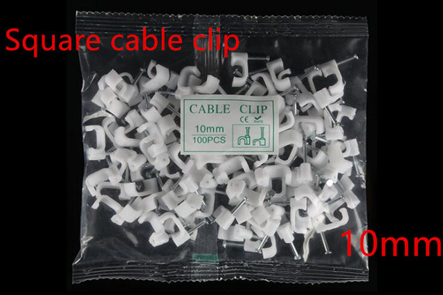 100pcs/bag 10mm Square White Clamps Holder Wire Electrical Fasten Wall Insert Cord Fixer Steel Plastic Tower Nails Cable Clips F