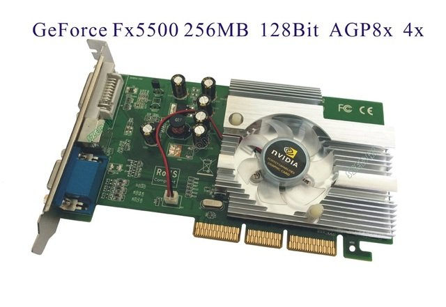 Free Shipping Direct from Factory NEW Quadro GeForce FX5500 256MB DDR AGP 4X 8X VGA DVI Video Card