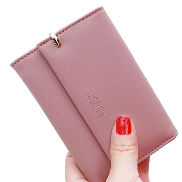 Hot New High Quality Short Wallet Women Fashion Hasp Money Purse Female Card Holder Solid PU Leather Girls Gift Brand Design
