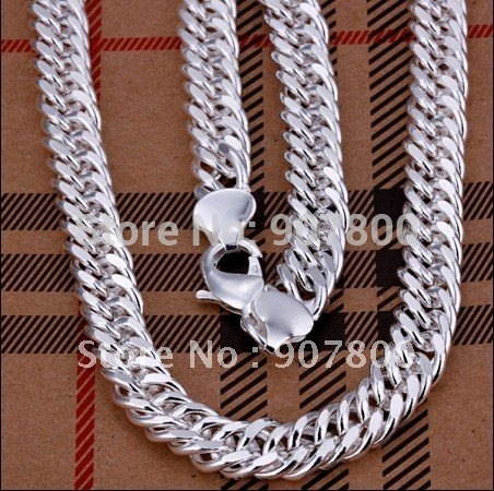N039 Silver Chain Necklace 10MMX20inches sideways Top Quality Fashion Men's Jewelry