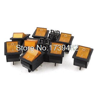 10Pcs Car Yellow Light DPST ON-OFF 4 Pin Rocker Boat Switch AC 250V/15A 125V/20A