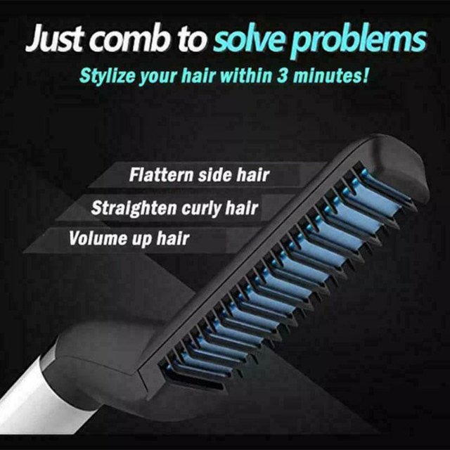 2019 Drop Shpping Black Beard Comb Beard Straightener Fashion Handsome Hair Beard Curler for Hair Tools