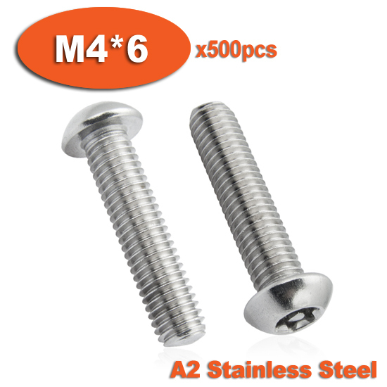 500pcs ISO7380 M4 x 6 A2 Stainless Steel Torx Button Head Tamper Proof Security Screw Screws