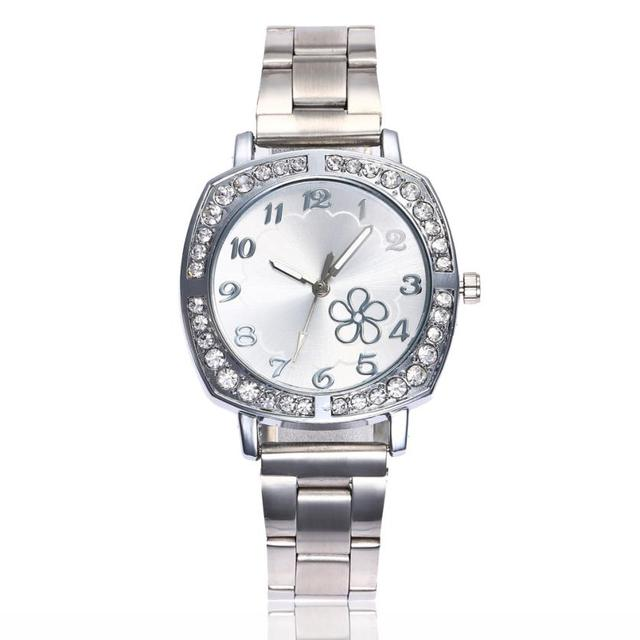 Women Fashion Stainless Steel Band Analog Quartz Round Wrist Watch Watches ladies watches with rhinestones brand luxury xfcs