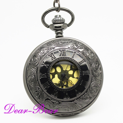 (1001B)Wholesale Victorian Jet Black Roman Numeral Pocket Watch with Velvet Leather, 12pc/lot