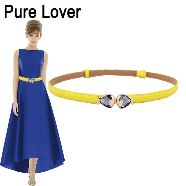 FEECOLOR Women Thin Belt Kissing Fish Crystal Buckle PU Leather Waistband Dress Pants Accessories Adjustable