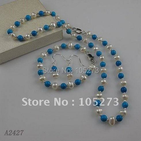 Charming!pearl jewelry set AA6-7mm white Genuine freshwater pearl &blue turquoises necklace bracelet earring free shipping A2427