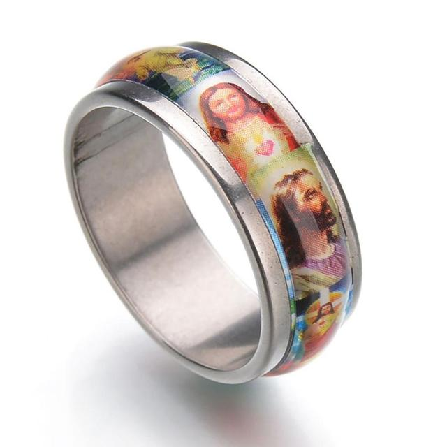 Hot Fashion Unisex Stainless Steel Jesus Oil Painting Finger Tail Ring Band Jewelry