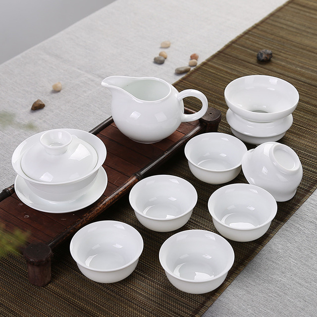 9pcs Super white teaset,gaiwan+6 cup+filter+fair cup,gongfu teaware,Porcelain arts,china,Ceramic,gift,for milk oolong etc