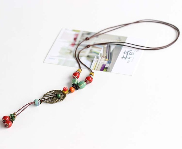 Women Necklace Original Handmade Sweater Chain Ceramic Long Necklace Pendant  Ethnic Style Jewelry Fashion Vintage Accessories