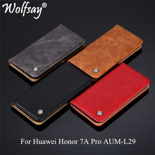 Wolfsay For Huawei Honor 7A Pro Case Triangle Pattern Flip Cover PU leather & Soft TPU Inside Cases Huawei Honor 7A Pro AUM-L29