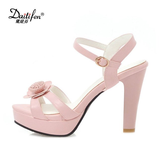 Daitifen Women Shoes High Heel Sandals Ladies Elegant Flower Platform Shoes Open Toe Dress Heels Shoes Buckle Summer Sandals