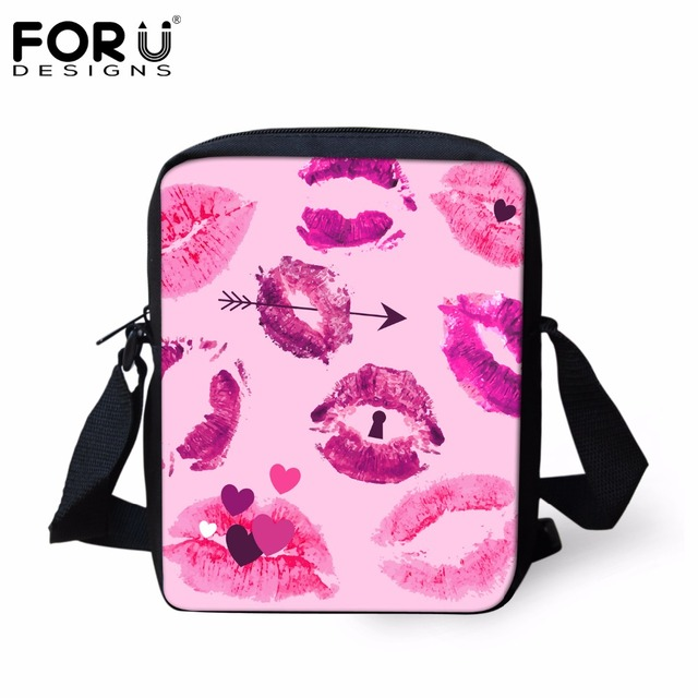 FORUDESIGNS 3D Sexy Red Lips Pattern Women Fashion Messenger Bags Female Travel Small Crossbody Bags Mini Shoulder Bags for Girl