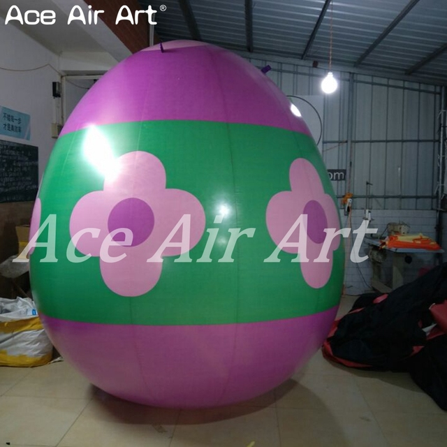 Giant inflatable Egg model,colorful pop flower inflatable Easter egg replica for Easter day decorations