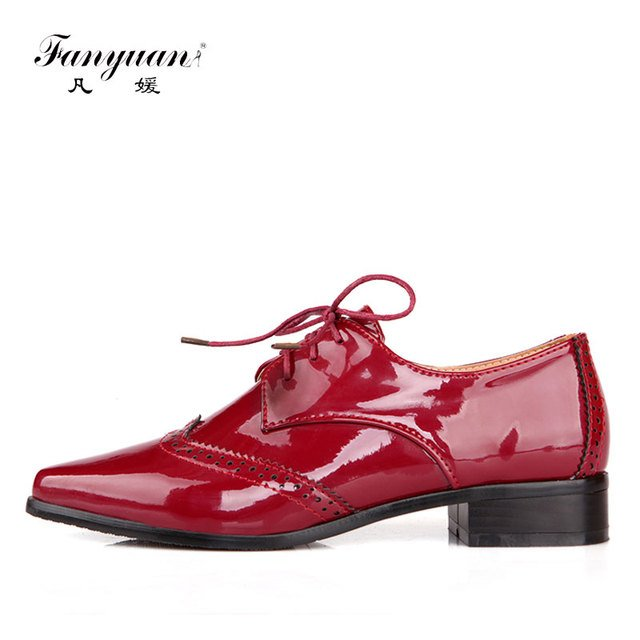 Fanyuan 2019 spring women Oxford shoes neutral Pointed toe lace-up solid color Sewing flats mature Office lady safety Job shoes