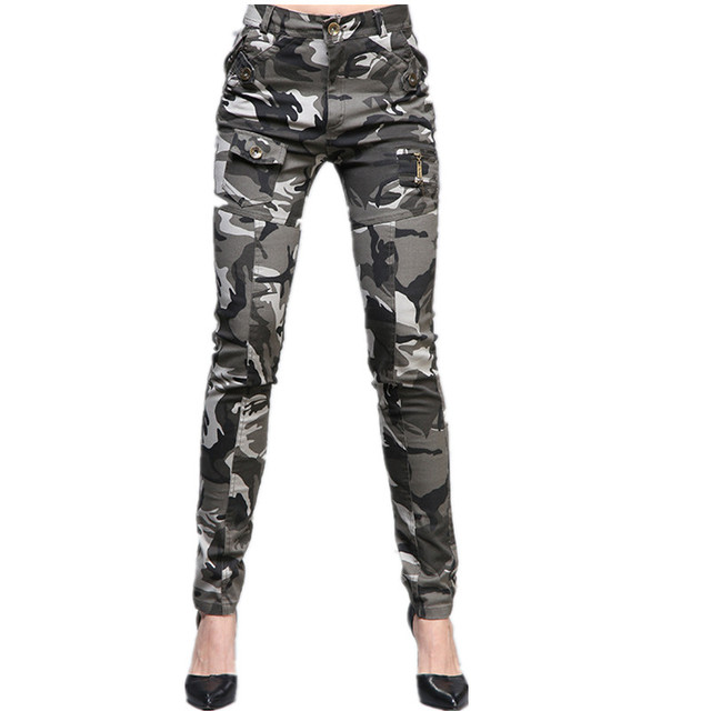 Military Camouflage Pants Women Baggy Cargo Pants For Girls Army Green Stretch Cotton Zipper With Pockets Pants Female Summer