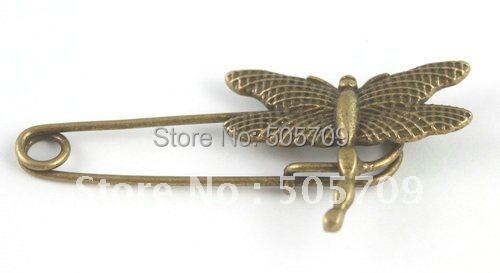 60PCS Antiqued bronze dragonfly Safety Pin Brooch A15547B