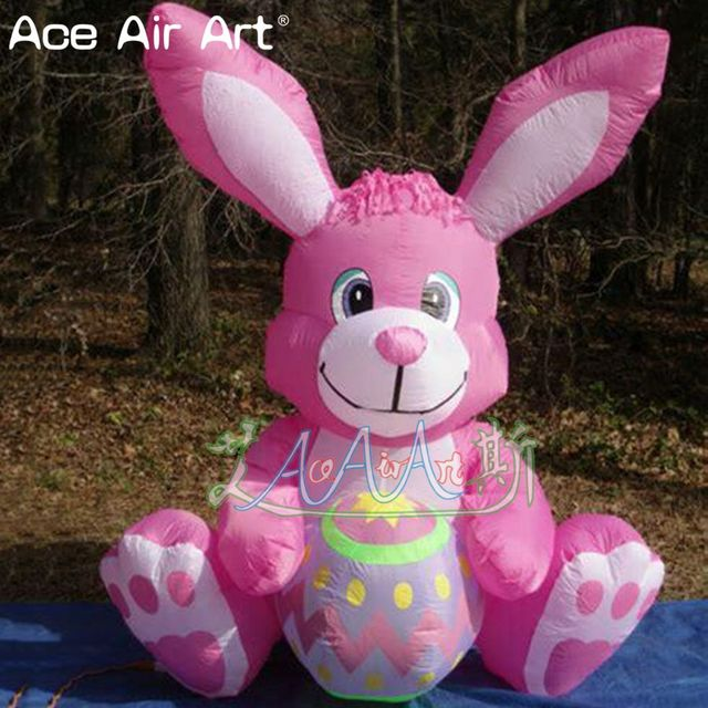 Easter yard decorations model,little pink color inflatable bunny with egg,inflatable Easter bunny/rabbit for Easter Events