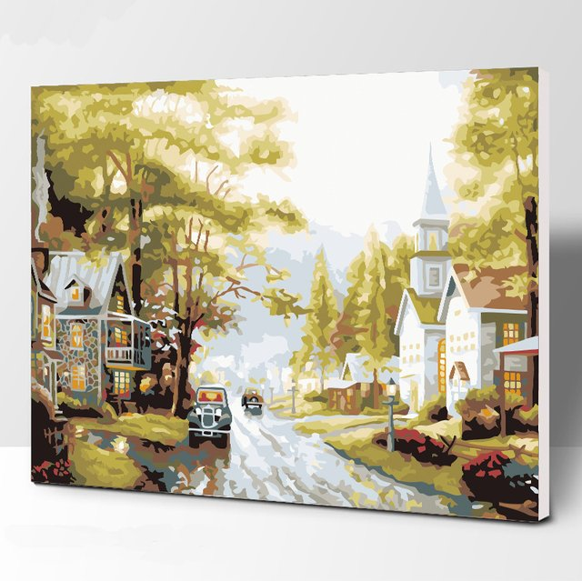 Frameless Picture Country town DIY Painting By Numbers Modern Wall Art Handpainted Oil Painting On Canvas For Home Decor