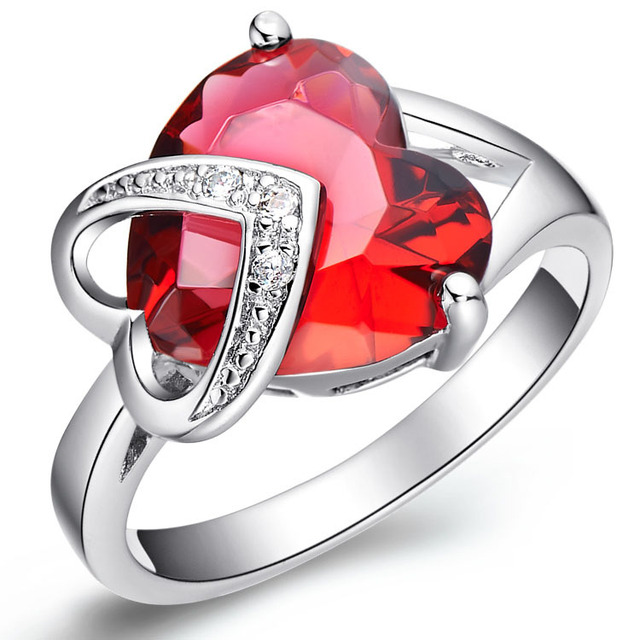 Wedding DoubleHeart Red Zircon Women's Ring Platinum Plated Wholesale Jewelry Christmas Gift  Sales Promotion Free Shipping