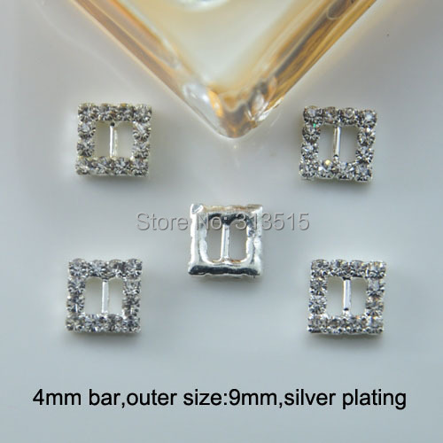 (M0162-4mm inner bar) square rhinestone ribbon slider for doll, silver or gold plating,tiny products