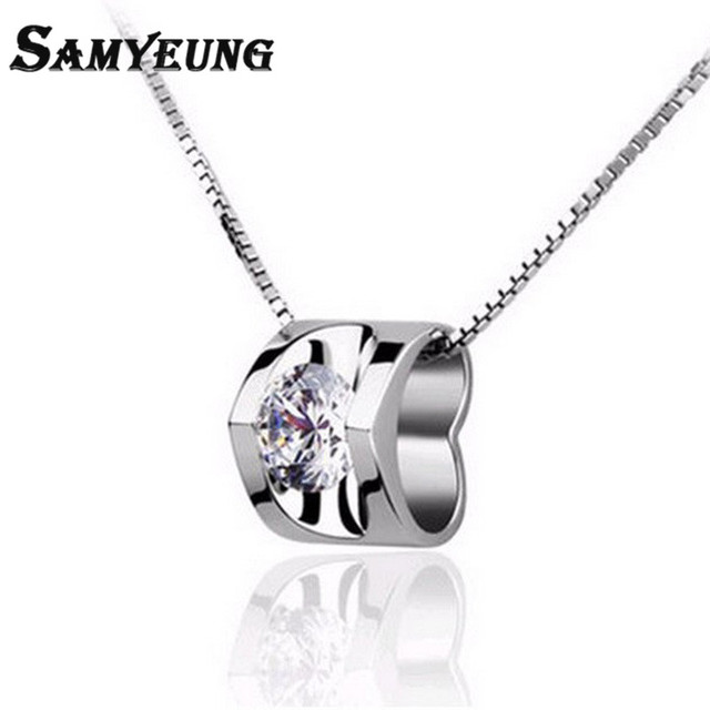 SamYeung Cute Women Silver Necklaces Long Link Charms Necklace Femme Crystal Heart Neckless Collier Femme online shopping india