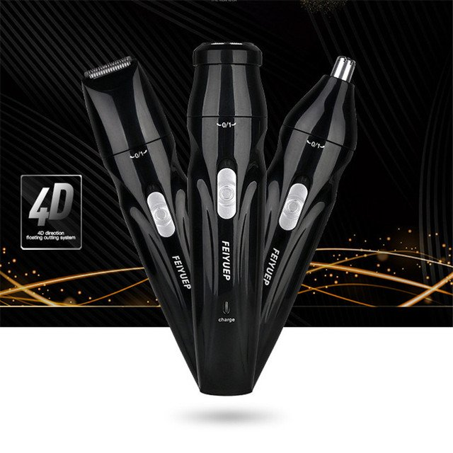 Portable 3 in 1 Electric Nose Hair Trimmer Nose Clipper USB Powered Razor Ear Hair Removal Face Care Shaving Razor for Men
