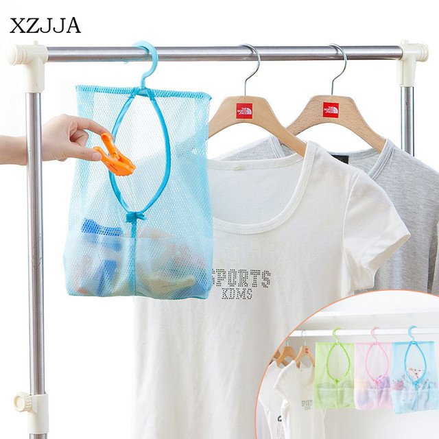 XZJJA 1PC Creative Multi-Function Mesh Storage Bag Home Kitchen Bathroom Hanging Organizer With Rotating Hook Clothes Clip Bags