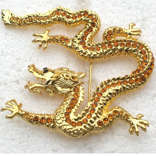 12pcs/lot Wholesale Fashion Brooch Rhinestone Dragon Pin brooches C101343