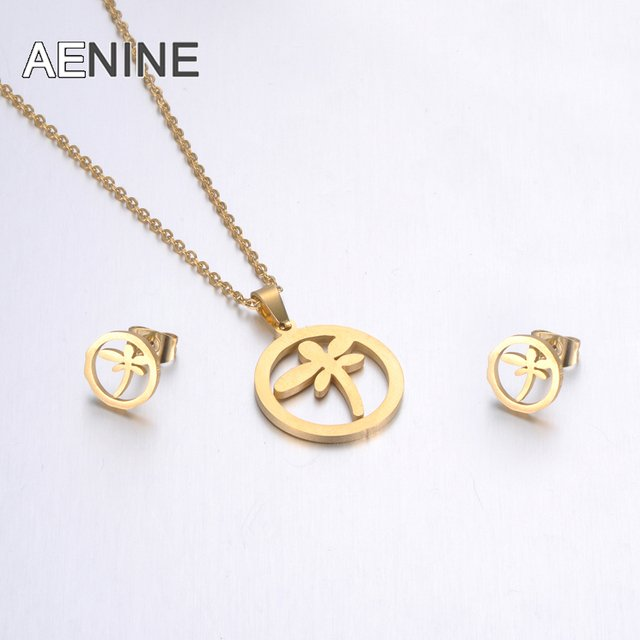 AENINE Stainless Steel Sets For Women Girls Gold Color Dragonfly Shape Necklace Earrings Jewelry Lover's Engagement Jewelry