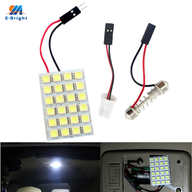 YM E-Bright 10PCS Panel Light White 24 SMD 5050 3Chips LED Light Festoon Dome Bulb Lamp T10 + Festoon Adapters Car Led 12V Bulbs