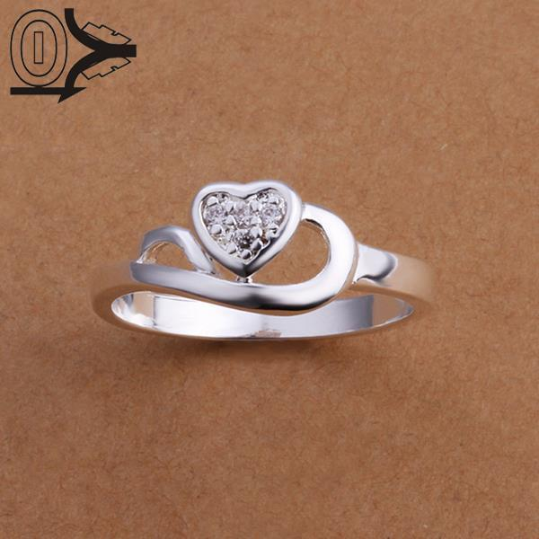 Wholesale Silver-plated Ring,Silver Fashion Jewelry,Women&Men Gift Zircon Heart Silver Finger Rings Top Quality