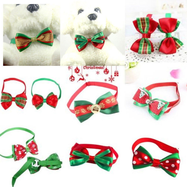 Lovely Pet Collar Bow Knot Puppy Necklace Colorful Adjustable Tie Prop Christmas