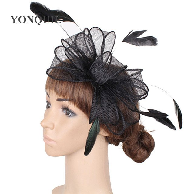 sinamay fascinator hats good bridal wedding hair accessories cocktail hat Very nice Free shipping 17 colors can be chosen SYF280