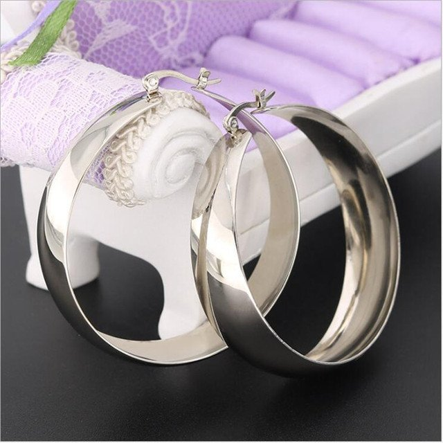 Titanium Big Hoop Earrings For Women 50mm Euro Style Beauty And Delicate No Fade Allergy Free Quality Jewelry