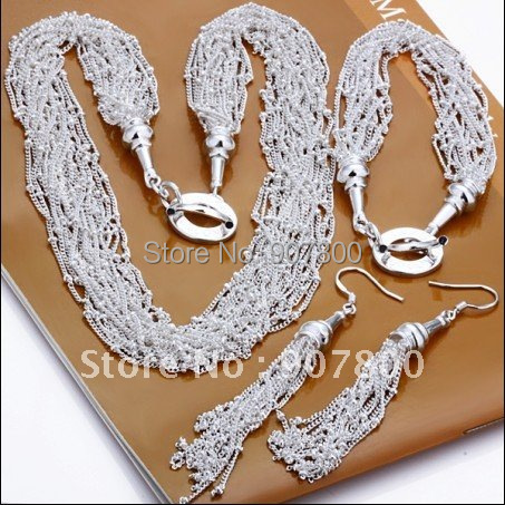 Hot Silver color Jewelry Set chokers necklace bracelet earrings for woman Top quality wedding gift