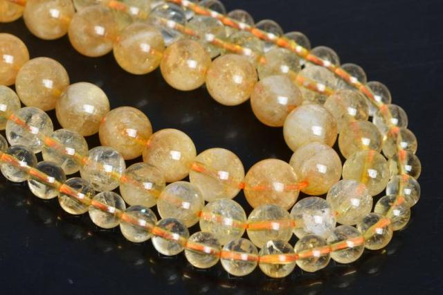 Genuine Citrin e Beads 6mm 8mm 10mm 12mm Round Citrines Beads  Full Strand 15.5""