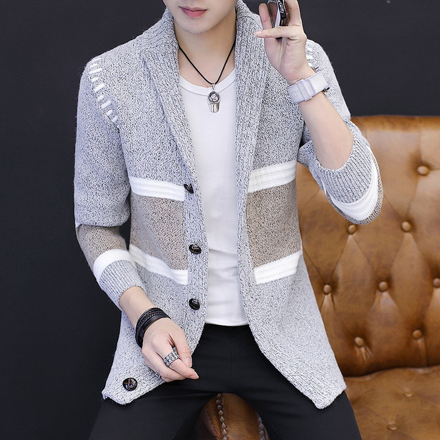 Sweater fashionable personality handsome young male 2019 new knit cardigan coat male male in the spring and autumn