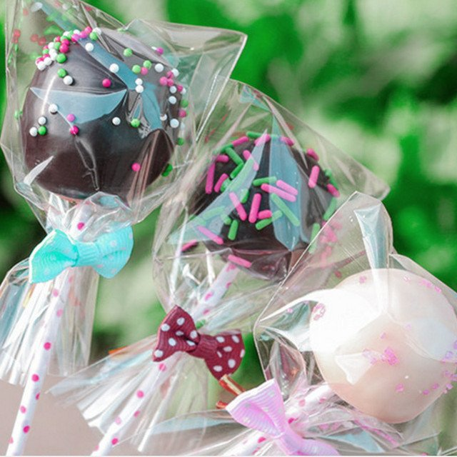 Cake pop Lollipop Chocolate Pop Packing bags 100pcs/pack (7x10cm, 8X12cm, 9x15cm) baking Cookies Biscuits pack bags sets